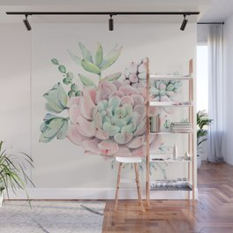 Perfect Pink Succulent Wall Mural