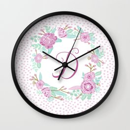 Monogram D - cute girls purple florals flower wreath, lilac florals, baby girl, baby blanket Wall Clock