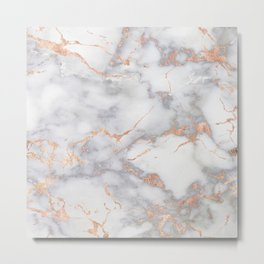 Gray Marble Rosegold  Glitter Pink Metallic Foil Style Metal Print