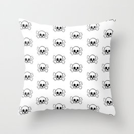 Black Skull and Crossbones Print and Pattern Throw Pillow