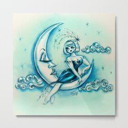 Girl on the Moon Metal Print