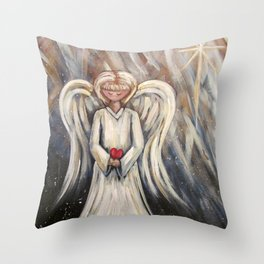Angel and Star Throw Pillow
