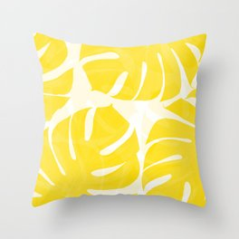Mellow Yellow Monstera Leaves White Background #decor #society6 #buyart Throw Pillow