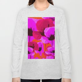 Pink And Red Poppies On A Orange Background - Summer Juicy Color Palette Retro Mood #decor #society6 Long Sleeve T-shirt
