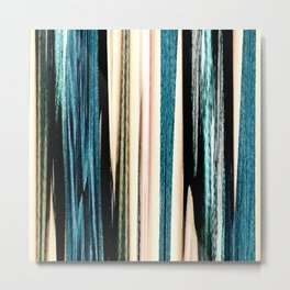 blue turquoise black grey beige pink abstract striped pattern Metal Print