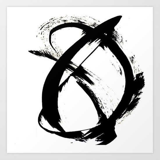 Brushstroke 7: a minimal, abstract, black and white piece by blushingbrushstudio