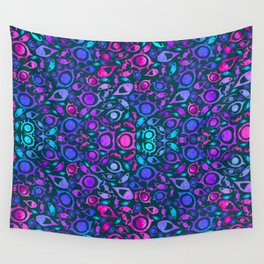 Watercolor Psychedelia - REALIZE (tribal) Aquaberry on Dark Turquoise Wall Tapestry
