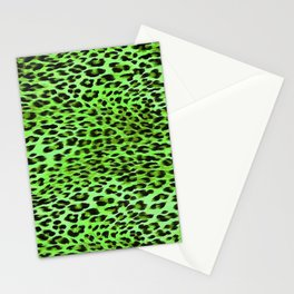 Green Tones Leopard Skin Camouflage Pattern Stationery Cards