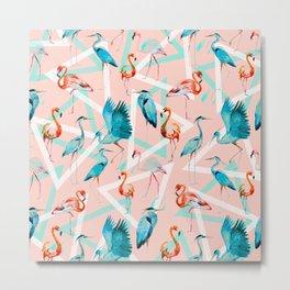 Pattern flamingos & triangles Metal Print