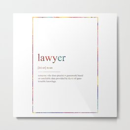 LAWYER 359 Watercolor Map Yoga Quote Definition De Metal Print