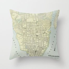 Vintage Map of Charleston SC (1901) Throw Pillow