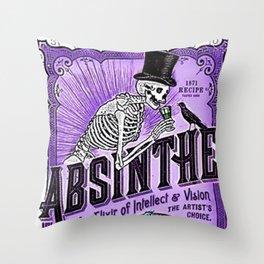 Vintage 1871 Purple Absinthe Liquor Skeleton Elixir Aperitif Cocktail Alcohol Advertisement Poster Throw Pillow
