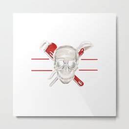 Plumber Pipefitter Offensive Language Skull Gift Metal Print