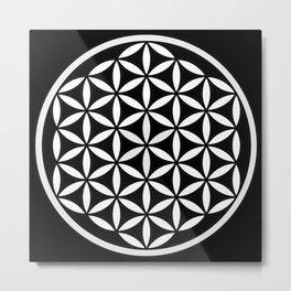 Flower of Life Yin Yang Metal Print