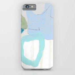 stone by stone 2 - abstract art fresh color turquoise, mint, purple, white, gray iPhone Case