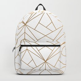 Geometric Gold Pattern With White Shimmer Rucksack