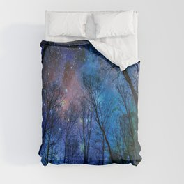Black Trees Dark Blue Space Comforters