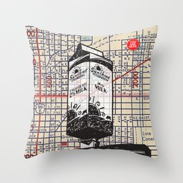 Sunshine Dairy sign, N.E. 20th and Pacific Street, You Are Here, Portland. Throw Pillow