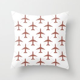 Coral Pink Airplanes Flying Pattern Throw Pillow