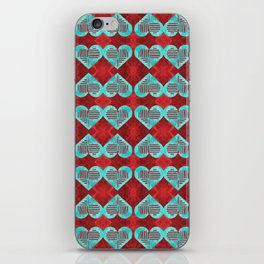 Abstract Turquoise and Bright Red Diamond Hearts iPhone Skin
