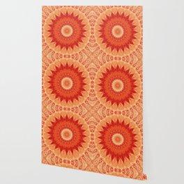 Mandala orange red Wallpaper