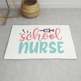 School Nurse Pink Blue Women's Typography Rug