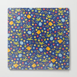 Easter Eggs and Yellow Baby Chick Pattern Metal Print