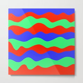 Retro abstract red, green and blue wavy decorative pattern graphic design. Gift ideas. Home decor. Metal Print