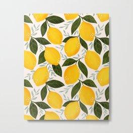 Mediterranean Summer Lemons Pattern Metal Print