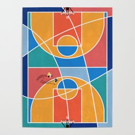 Shooting Hoops Street Basketball From Above  Poster