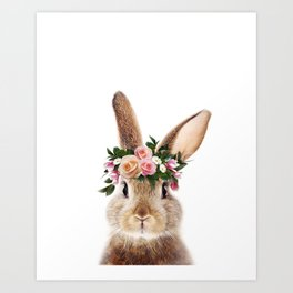 Baby Rabbit, Bunny With Flower Crown, Baby Animals Art Print By Synplus Art Print