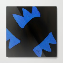 The Crown of Basquiat, Abstract, Electric Blue Metal Print