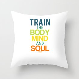 Yoga Workout saying body soul spirit Throw Pillow