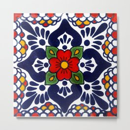 talavera mexican tile in blu Metal Print