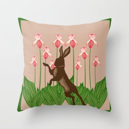 Hare + Lady Slippers Throw Pillow