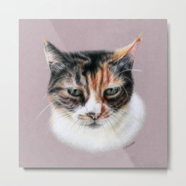 Cat portrait colored pencils Metal Print