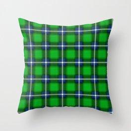 Scottish Tartan Blue and Green Throw Pillow