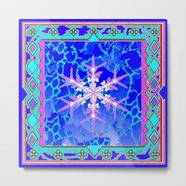 Blue Frozen Snowflake Abstract Art Metal Print