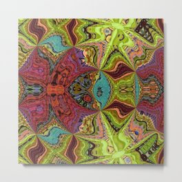 Kaleidoscope Glass Art (Maroon, Yellow, Salmon, Teal, Red) Metal Print