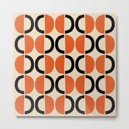 Mid Century Modern Half Circle Pattern 524 Beige Orange and Black Metal Print
