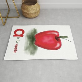 A is for Apple, children alphabet for kids room and nursery Rug