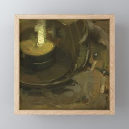 Olive Green Abstract Realistic Impressionistic Painting Still Life Tealight Lamp and Feathers Framed Mini Art Print