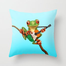Tree Frog Playing Acoustic Guitar with Flag of Ireland Throw Pillow