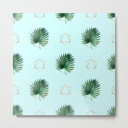 Minimal Tropical Palm Leaf - Palm And Gold - Gold Geometric Pattern 3 - Modern Tropical Wall Art Metal Print