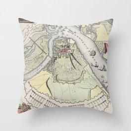 Vintage Siege of Belgrade Serbia Map (1717) Throw Pillow