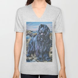 Newfoundland dog art from an original painting by L.A.Shepard Unisex V-Neck