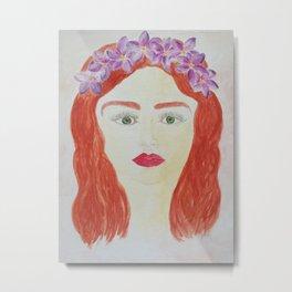 Blumen Mädchen Metal Print