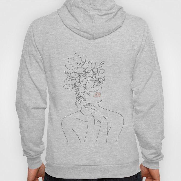 Minimal Line Art Woman with Magnolia Hoodie