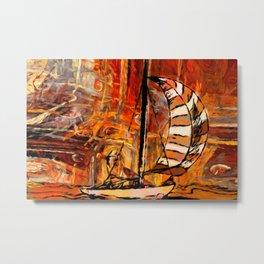 Vintage Abstract Sail Boat Painting Metal Print