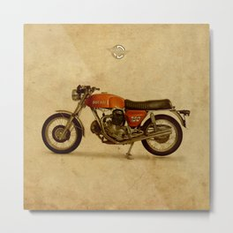 Vintage old motorcycle 750GT 1971 vintage background Metal Print